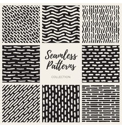 Seamless hand drawn lines patterns vector