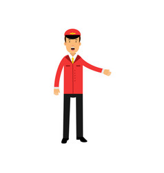 airline pilot in red uniform doing a welcome vector image