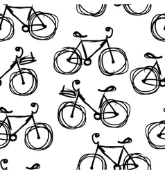 Bicycle sketch seamless pattern for your design vector image vector image