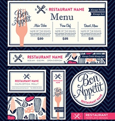 Bon appetit restaurant set menu design template vector