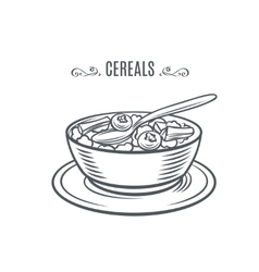 Cereal with milk and berries vector image