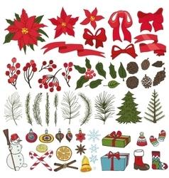 Christmas tree branchesflowersdecoration set vector image vector image