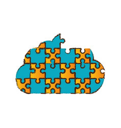 cloud puzzle pieces image vector image