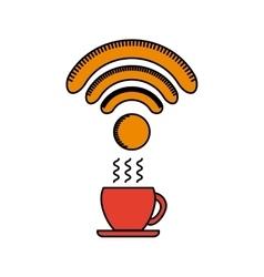 Coffee mug with wireless waves vector