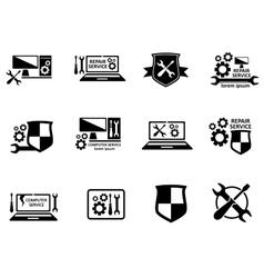 Computer service and repair symbols set vector