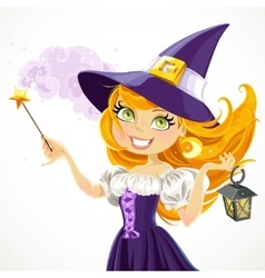 Cute young witch with magic wand and flashlight vector image