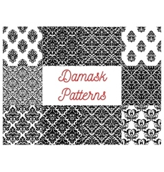 Damask seamless patterns set Floral background vector image