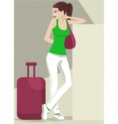 girl traveling vector image vector image