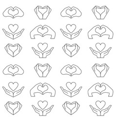 Hand and heart pattern vector
