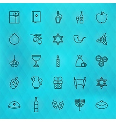Happy hanukkah thin line icons set vector