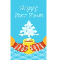 Happy New Year greeting card with a cup and vector image vector image