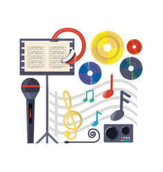 Musical concept with microphone amplifier and vector