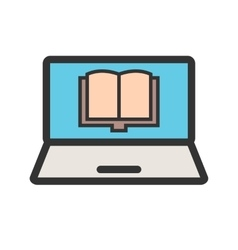 Read book on laptop vector