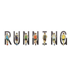 Running text font design marathon runners vector