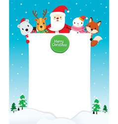 Santa Claus Snowman And Animals With Blank Sign vector image