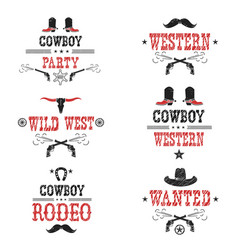 Set of cowboy labels and western symbols vector