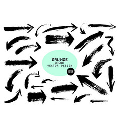 set of different grunge brush arrows pointers vector image