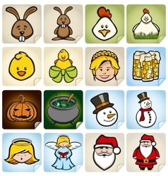 Sticker set holidays vector