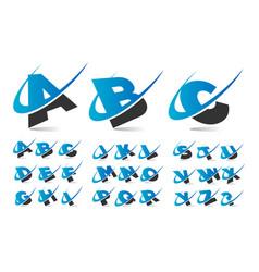 Swoosh wave alphabet logo icons vector