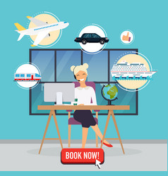 Travel agency concept woman sitting at the table vector