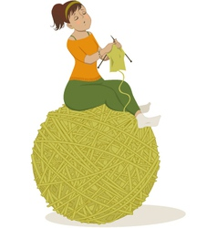 Woman knitting vector image