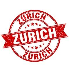 Zurich red round grunge vintage ribbon stamp vector