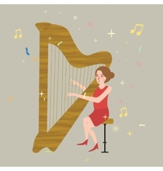 Girl playing harp musical instrument with string vector