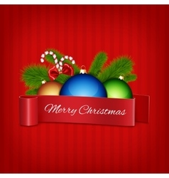 Christmas ball with red ribbon vector