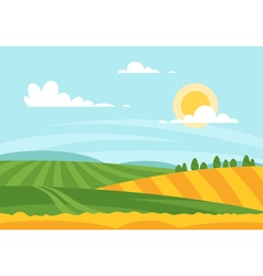 Cartoon style of wheat field in a daytime vector