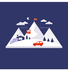Mountain winter design concept vector
