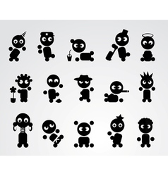 Black funny people icons vector