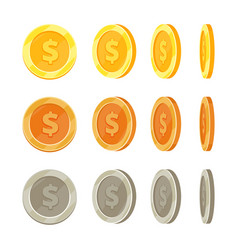 cartoon golden coins in different positions gold vector image