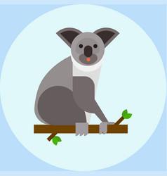 Young koala sitting on tree branch australia bear vector
