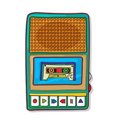 Pop art audio tape recorder vector