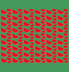 Slice of watermelon on a green background vector