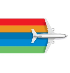 Airplane with blank rainbow for message text vector image