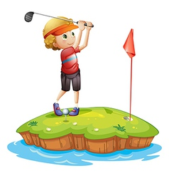 An island with a boy playing golf vector image