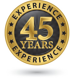 45 years experience gold label vector image