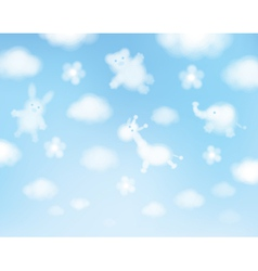 Cute sky clouds cartoons vector