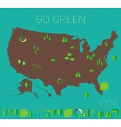 High detailed united states map ecology eco icons vector