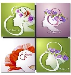 Greeting card beautiful young woman vector