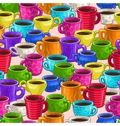 Seamless pattern with colorful cartoon coffee cups vector