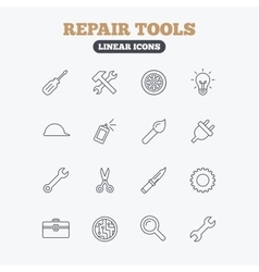 Repair tools icons hammer with wrench key vector