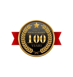 100 years anniversary golden label with ribbons vector
