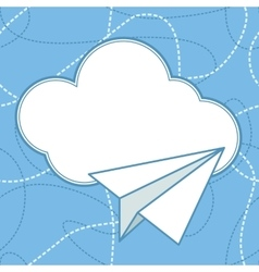 Paper plane and cloud background vector