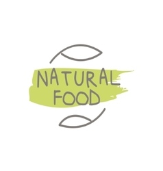 Natural food label design vector