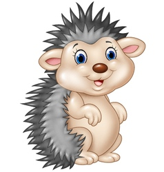 Adorable baby hedgehog sitting isolated vector image vector image