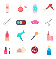 Beauty salon set of cartoon icons white vector