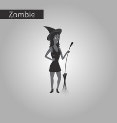 Black and white style icon of witch with broom vector