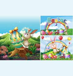 bunny and eggs for easter holiday vector image